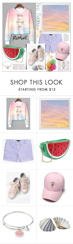 """Romwe.Watercolor Slogan Print Crop Sweatshirt"" by natalyapril1976 ❤ liked on Polyvore featuring J.Crew and Chrysalis"