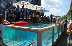 clear shipping container swimming pool