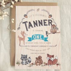 Woodland Creatures Invitation - First Birthday Woodland Animals with Deer Owl Fox Squirrel and Raccoon  - DEPOSIT