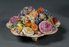 Dresden porcelain flower centerpiece, late 19th century