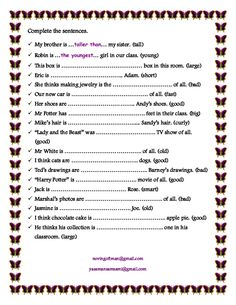 Phrases And Sentences Worksheets Pdf Revision Comparative And Superlative Adjectives  Esl Worksheets  Peer Editing Worksheets Word with Teaching Cursive Handwriting Worksheets Word This Is A Worksheet For Practicing The Grammar Of Comparison Of Adjectives  Comparatives And Superlatives Mean Average Worksheets Word