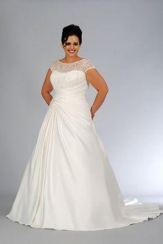 plus size wedding dress scoop | Plus Size Wedding Dresses A Line Scoop Court Train Satin Lace Up USD ...