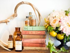 flowers, apothecary bottles, vintage