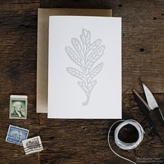 Oak Leaf Letterpress Card.  Linocut.