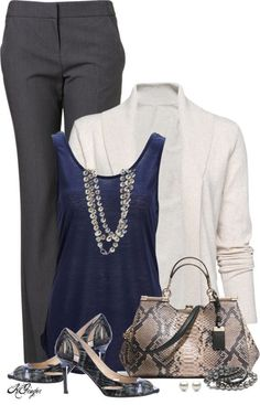 Take a look at the best dress business casual in the photos below and get ideas for your work outfits! One suitcase checklist: summer business casual capsule wardrobe Here is a new board of Kohls Business Casual Fall Outfits. Komplette Outfits, Casual Work Outfits, Work Casual, Polyvore Outfits, Fashion Outfits, Fashion Trends, Casual Office, Fashion Clothes, Office Outfits