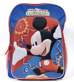 """Disney Mickey Mouse 16"""" 3D Backpack Clubhouse Print Kids School Book Bag"""