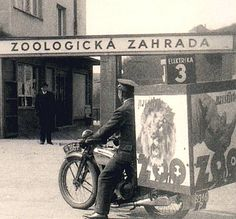 Motorcycle with billboard advertising Praha Zoo Czechoslovakia - Praha (Prague), mid 1930s