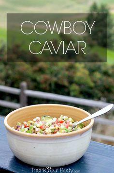 Cowboy Caviar: A delicious medley of avocado, fresh tomato, corn and black eyed peas!