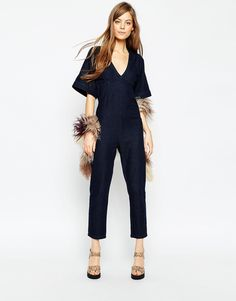ASOS Denim Open Back Jumpsuit With V-Neck And Wide Sleeve