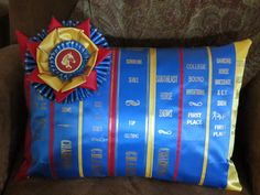 For all of the old show ribbons.     Custom Horse Show Ribbon Pillow (your ribbons). $40.00, via Etsy.