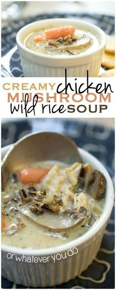 Creamy Chicken Mushroom Wild Rice Soup -- so filling and delicious!  http://www.orwhateveryoudo.com/2014/10/creamy-chicken-mushroom-wild-rice-soup.html#_a5y_p=2657152