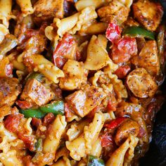 Chicken Fajita Pasta Recipe Main Dishes with olive oil, boneless skinless chicken breasts, fajita seasoning mix, diced onions, bell pepper, garlic, low sodium chicken broth, heavy cream, diced tomatoes, penne pasta, salt