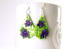 Floral Earrings, Tear Drop Dangle Earrings, Polymer Clay Jewelry, Bright Green and Purple, Handmade Flower Earring, Clay Jewelry by BobblesByCarol on Etsy