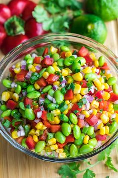 Edamame Salad With Cilantro Lime Dressing Peas And Crayons - This Healthy Edamame Salad Is Tossed With A Homemade Cilantro Lime Dressing For A Colorful Side Dish Thats Quick Easy And Crazy Delicious This Tasty Side Salad Is Vegan Vegetarian Gluten Fr Healthy Salads, Healthy Cooking, Healthy Eating, Cooking Recipes, Yummy Recipes, Vegetarian Recipes, Healthy Recipes, Vegan Vegetarian, Supper Recipes