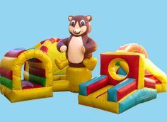 Ardilla: ¡Cuatro en uno! Con el inflable ardilla tendrás distintas zonas de juego, con toboganes, rampas, obstáculos para saltar y un tunel
