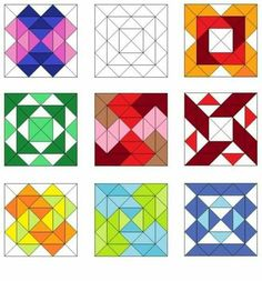 Lots of ideas for laying out triangles (and squares) to create different patchwork quilt patterns Patchwork Quilt Patterns, Barn Quilt Patterns, Pattern Blocks, Quilting Patterns, Quilting Templates, Quilting Tutorials, Quilting Projects, Barn Quilt Designs, Quilting Designs