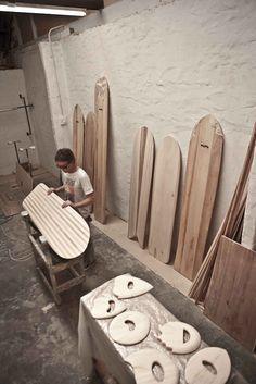 Wawa Wooden Surfboards workshop. Boards and handplanes
