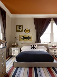 KF Portfolio Image painted ceiling.  Like the platform bed and the road signs.
