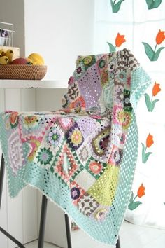 Beautiful granny square blanket in pastels