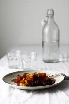 Roasted pumpkin with blackberry and apple sauce.