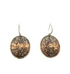 David Tishbi Oval Falling Leaf Earrings - Sterling Silver Oval Falling Leaf Earrings