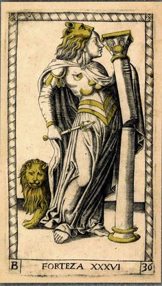 The image features a century Renaissance representation of the neoclassical archetype of Strength. Neoclassical, 15th Century, Archetypes, Tarot, Renaissance, Restoration, Strength, Artwork, Image