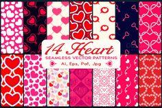 14 Heart Vector Seamless Patterns by deceangabriela on Creative Market
