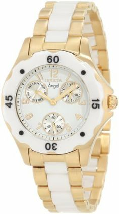 Invicta Women's 1655 Angel White Dial White Ceramic and Gold Watch Invicta. $129.95. Flame-fusion crystal; brushed gold ion-plated stainless steel case and bracelet with white ceramic center links. White dial with gold tone hands and arabic numerals; white ceramic bezel with black arabic numerals. Day, date and 60 second silver tone subdials. Japanese quartz movement. Water-resistant to 30 M (99 feet)