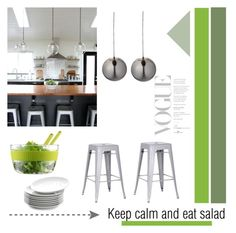 """""""Keep Calm and Eat Salad"""" by viva-12 ❤ liked on Polyvore featuring interior, interiors, interior design, casa, home decor, interior decorating, Bloomingville, Bodum e Crate and Barrel"""