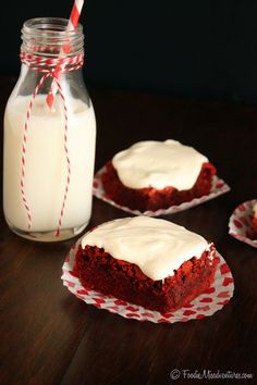 Red Velvet Brownies with Fluffy Cream Cheese Frosting | The Marvelous Misadventures of a Foodie