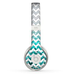 White Chevron Aqua Blue & Silver Glimmer Fade Skin for the Beats by Dre Solo 2 Headphones