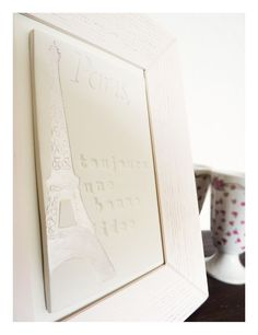 Elegant handmade ceramic wall art in timber frame.    Paris Eiffel tower ceramic art Wall tile with by LaNiqueHOME, €55.00