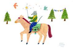 JACK Aiko Fukawa illustration 2015 amazing love horse riding bird flying star shining cute kawaii tree mouse