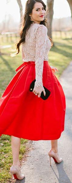 Red midi + lace.