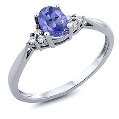 Women's 14K White Gold Blue Tanzanite and Diamond Ring Just 190.99 #Save at least #50%off #sale