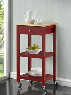 Roundhill Furniture Wood Kitchen Cart on Wheels Red -- Visit the image link more details.