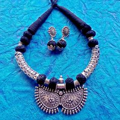 German Silver Jewelry Oxidised German Silver Indian necklace with synthetic coral Cabochon and matching earring