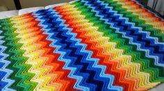 Vintage Classic Colorful Rainbow Chevron Ripple Afghan