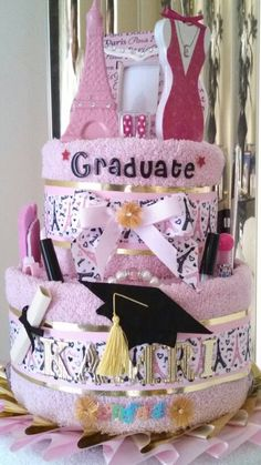 Graduation towel cake Evening in Paris