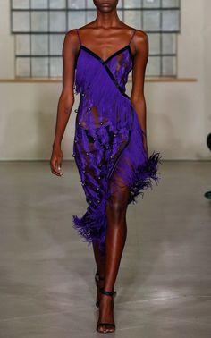 David Koma  Small Feather Spaghetti Strap Dress  $2,850