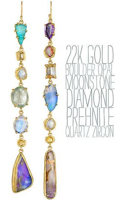 22k gold boulder opal moonstone prehnite amethyst diamond handmade earrings