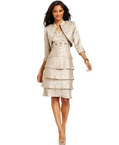 R&M Richards Tiered Embellished Dress and Jacket