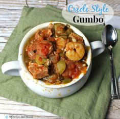 Gumbo is a rich stew made by layering the flavors of the proteins with Louisiana& version of mirepoix - affectionately called the Holy Trinity by Cajun and Creole cooks everywhere - onions, green bell peppers, and celery. As in most recipes on Whole Food Paleo Recipes, Whole Food Recipes, Dinner Recipes, Cooking Recipes, Cajun Cooking, Shrimp Recipes, Soup Recipes, Clean Eating Recipes, Healthy Eating