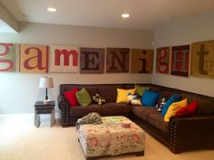 fun family room | decor/home / Fun Family room wall art. maybe we need a less ordinary living room? One with personality and fun written all over it?!