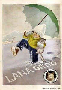 Cats in Art, Illustration, Photography, Design and Decorative Arts: Lana Gatto, Italian yarn ad
