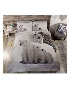Polar Bear Family Double Duvet Cover and Pillowcase Set. This stunning polycotton duvet cover features a photographic image of an adorable polar bear family.
