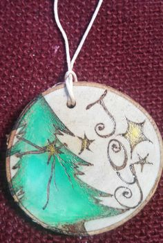 Christmas Tree Joy Wood Burned Ornament by SedonaArts on Etsy