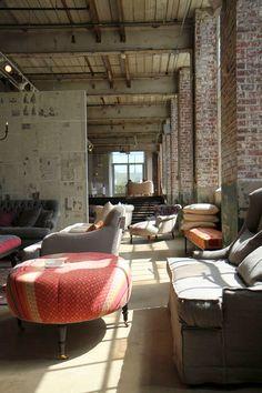 Vintage Lofts, I love the brick Restaurant Design, Vintage Restaurant, Loft Spaces, Living Spaces, Loft Apartments, Living Rooms, Appartement New York, Warehouse Living, Warehouse Loft