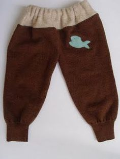 Wool Soaker Pants, aka Longies, are what Ma Ingalls was using before plastic diaper covers were invented in the Wool . Reuse Clothes, Sewing Clothes, Clothes Patterns, Sewing Patterns, Sewing For Kids, Baby Sewing, Baby Sweaters, Wool Sweaters, Pants Tutorial