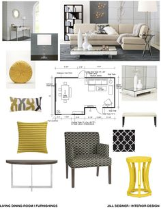 Concept board for an apartment living and dining room.